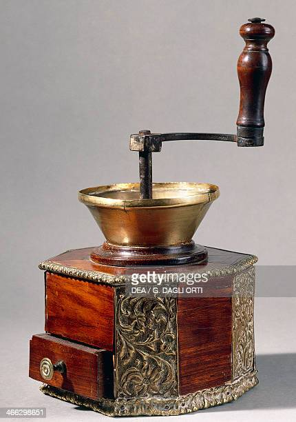 Wood and brass coffee grinder France 18th19th century