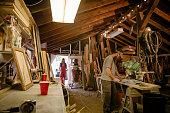 Wood artists working in workshop