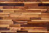 Wood background made of small boards of various size, color and wood type