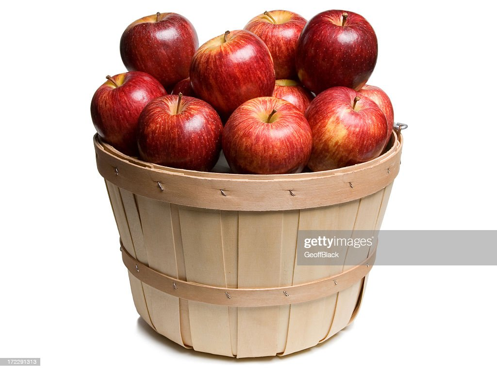 Wood basket with Red Apples