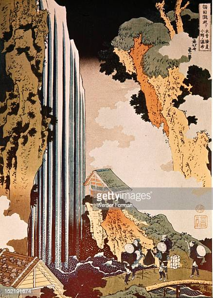 Wood block print The Waterfall by Hokusai Japan Japanese