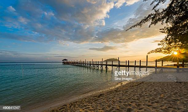 Wood Bridge on Sabah Seaside,Malaysia