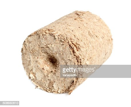 Wood briquette. Isolated on a white background. : Stock Photo