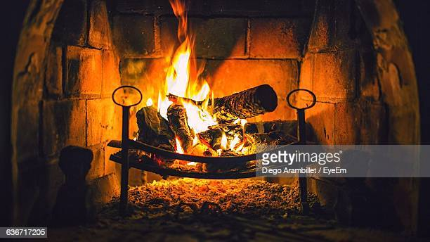 Wood Burning In Fireplace At Home