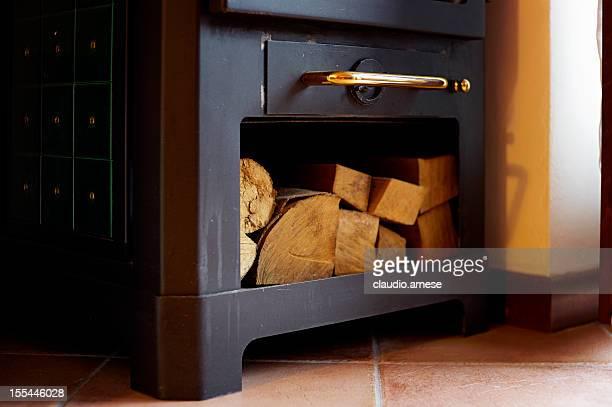 Poêle à bois. Image en couleur