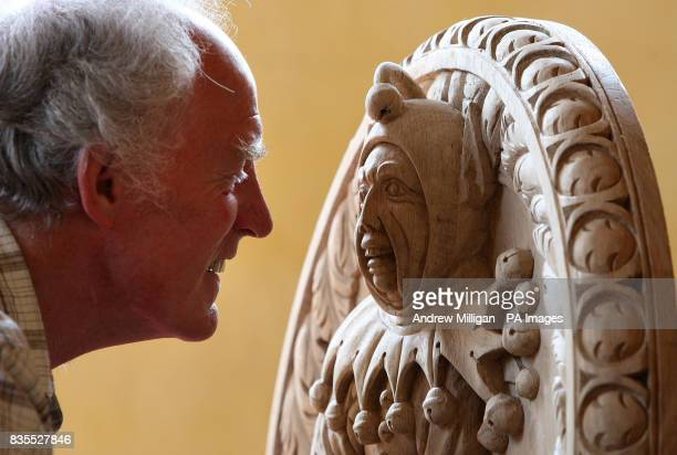 Wood carver John Donaldson with the Jester one of 41 handcarved replicas of the Stirling Heads the worldfamous masterpieces of Scottish Renaissance...