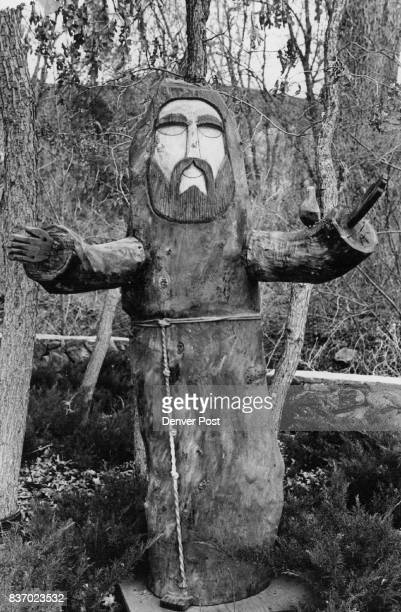Wood carving of St Francis of Assisi by local artist Ben Ortege overlooks The Sargents' backyard and swimming pool The home is on 10 acres The...