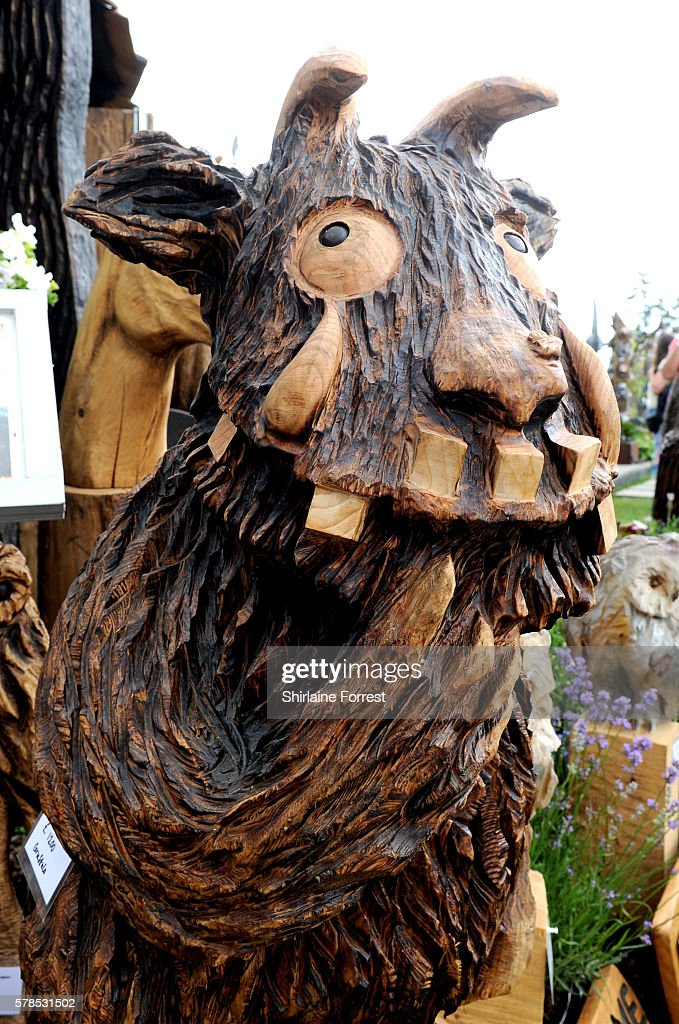 A wood carving of The Gruffalo during the RHS Flower Show at Tatton Park on July 21 2016 in Knutsford England