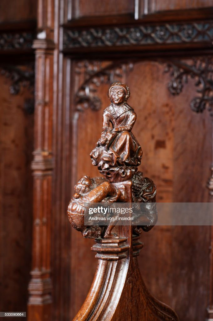 Wood carving on the stalls in the Chapel, The Vyne, Hampshire.