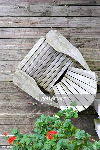 wood chair on porch from above