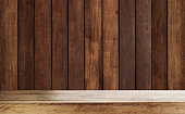 Wood counter top with wood wall planks