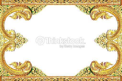 Wood Craft Frame Thai Classic Art Style Isolated Stock Photo ...