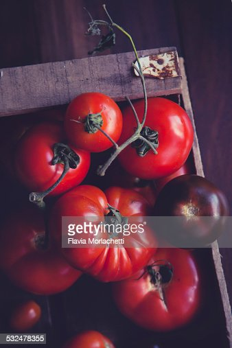 Wood crate with tomatoes varieties stock photo getty images