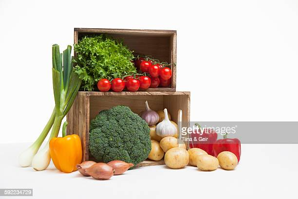 Wood crates filled with fresh vegetables