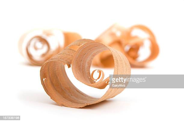 Wood Curl/Shavings close up #11-isolated on white