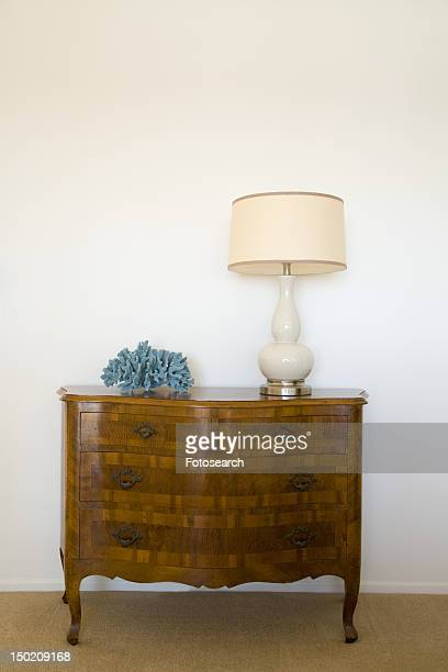 Wood Dresser and Lamp
