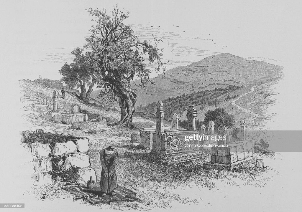 Wood engraving depicting hills and tombs a man standing on a blanket in the foreground titled 'Mount Scopus from Saint Stephen's gate Mohammedan...