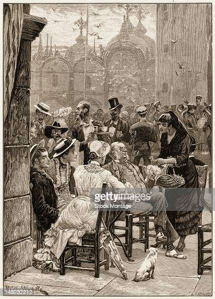 Wood engraving depicts a crowded scene in St Marks Square where a woman sells flowers from a basket to a quartet of people seated at an outdoor table...