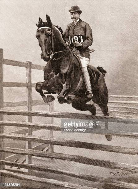 Wood engraving depicts a horse and rider doing the 'In and Out Jump' at a horse show in Madsion Square Garden New York New York November 1892