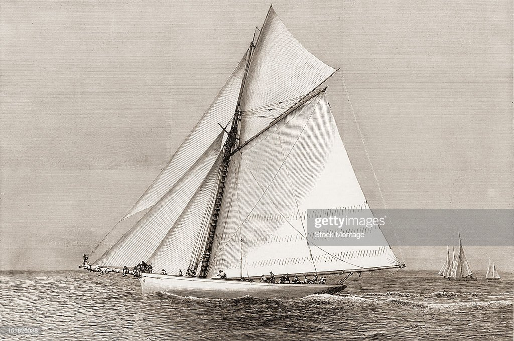 Wood engraving depicts American steel sloop racing yacht 'Volunteer' winner of the America's Cup late 19th century