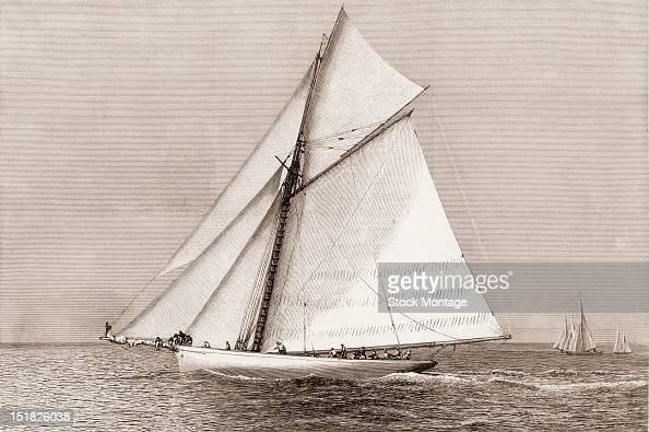 Wood engraving depicts American steel sloop racing yacht 'Volunteer' winner of the America's Cup late 19th century