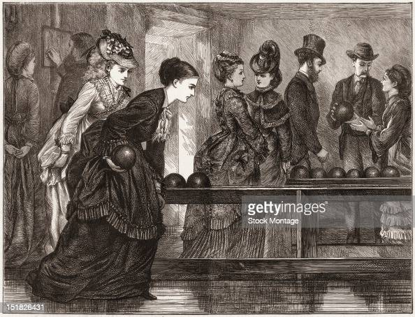 Wood engraving depicts several women in floorlength dresses as they play a game of tenpin bowling early to mid 1870s