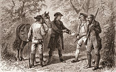 Wood engraving depicts the capture of British military officer John Andre at the hands of a US militiamen John Paulding Isaac Van Wart and David...