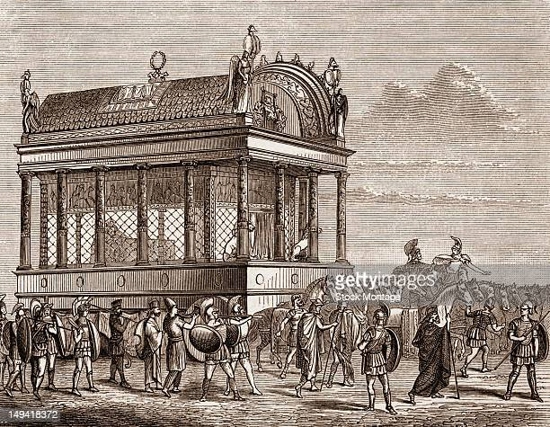 Wood engraving depicts the funeral procession of the King of Macedonia Alexander III Babylon 323 BC