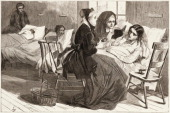 Wood engraving depicts two women as they comfort a bedridden patient at the New York City Lunatic Asylum Hospital Blackwell's Island New York New...