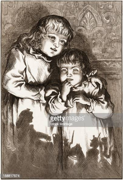 Wood engraving entitled 'A Christmas Sketch Five O'Clock in the Morning' depicts a two young girls on Christmas Day with the silhouettes of toys on...