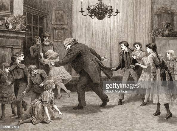 Wood engraving entitled 'A Romp after Dinner' depicts a man and a group of children as they play 'blind man's bluff' England 1887