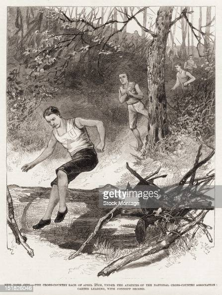 Wood engraving from Frank Leslie's Illustrated Newspaper depicts a National CrossCountry Association championship race with EC Carter captain of the...