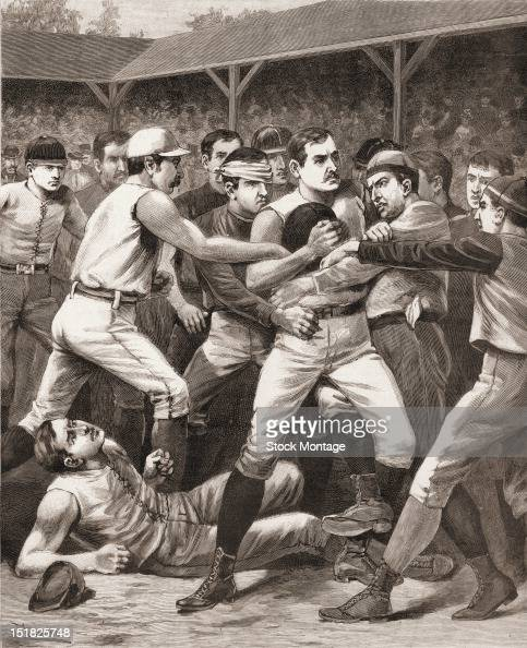 Wood engraving from Frank Leslie's Illustrated Newspaper entitled 'A Struggle for the Ball' depicts onfield action during a football game November...