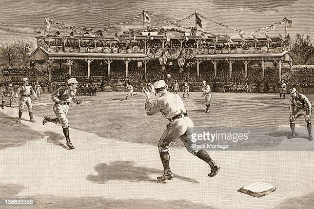 A wood engraving from Harper's Weekly depicts a double play during a baseball season opener between the Boston Beaneaters and the New York Giants at...