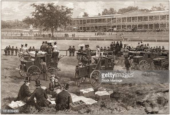 Wood engraving from Harper's Weekly entitled 'Coaches at Jerome Park on a Race Day' depicts people picnicing at the annual spring meeting of the...