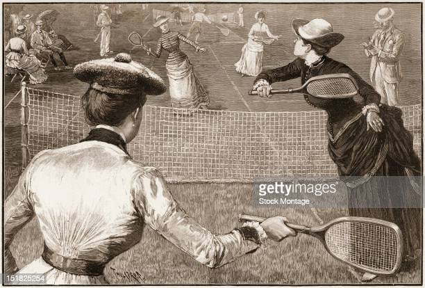 Wood engraving from Harper's Weekly magazine depicts a group of women as they play lawn tennis in Brooklyn's Prospect Park New York New York 1885