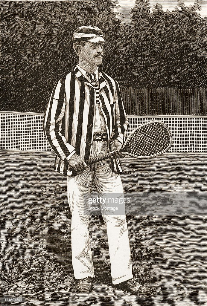 Wood engraving from Harper's Weekly magazine features a portrait of lawn tennis player Richard Dudley Sears as he stands with a racket 1886