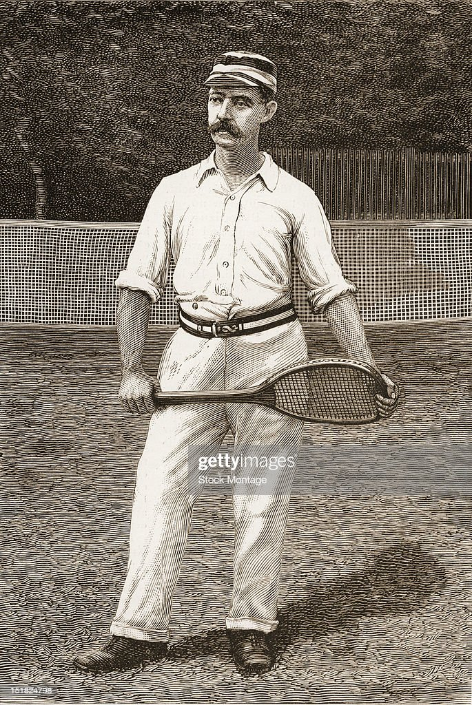 Wood engraving from Harper's Weekly magazine features a portrait of lawn tennis player Dr James Dwight as he stands with a racket 1886
