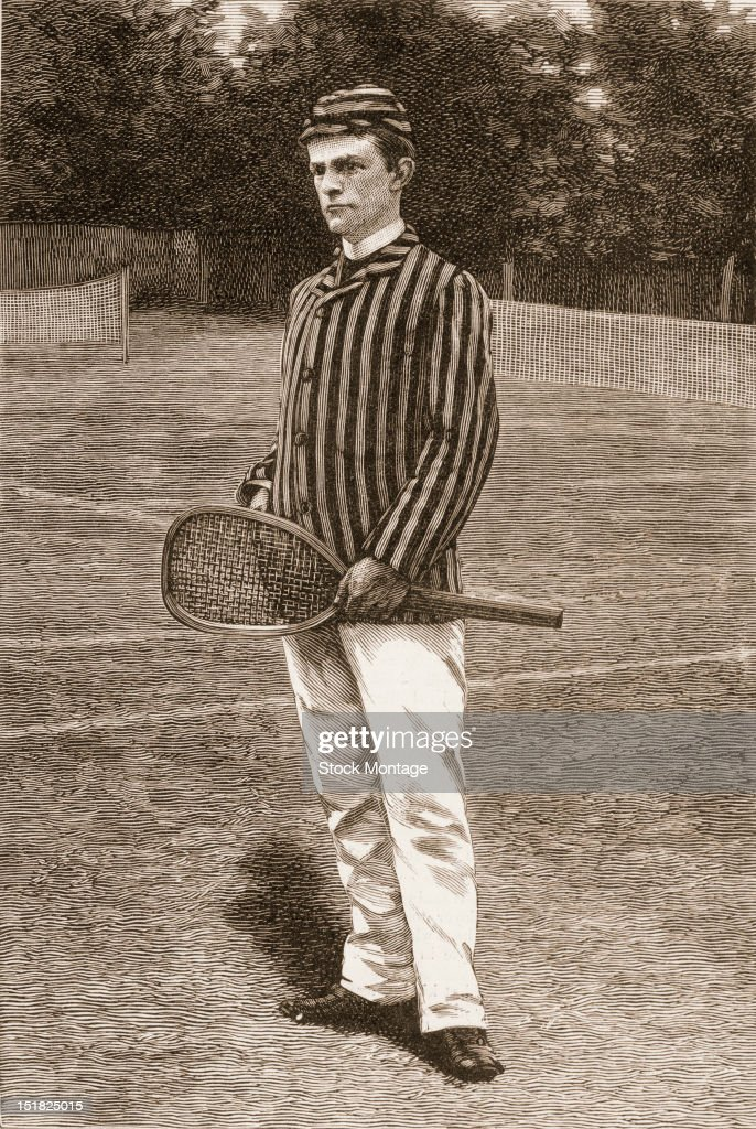 Wood engraving from Harper's Weekly magazine features a portrait of lawn tennis player Howard A Taylor as he stands with a racket 1886