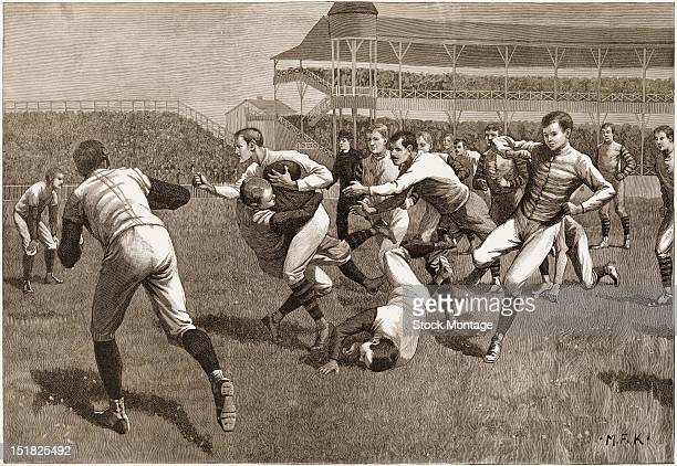 Wood engraving from Once a Week magazine depicts onfield action during a football match between Yale and Princeton late 19th century