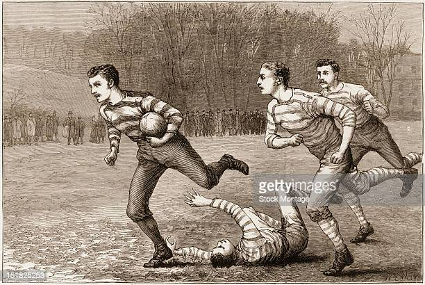 Wood engraving from The Graphic magazine features an Illustration of a young man running with the ball during a rugby or football match on a grassy...