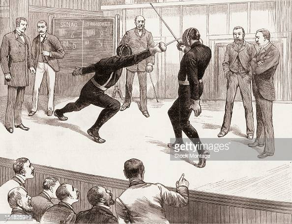Wood engraving of an American fencing tournament's championship match between Regis Senac and Louis Tronchet at Cosmopolitan Hall New York New York...