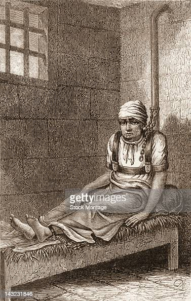 Wood engraving shows American James Norris in a restraining device seated on a straw bed in Bethlem Royal Hospital sometimes known as Bedlam London...