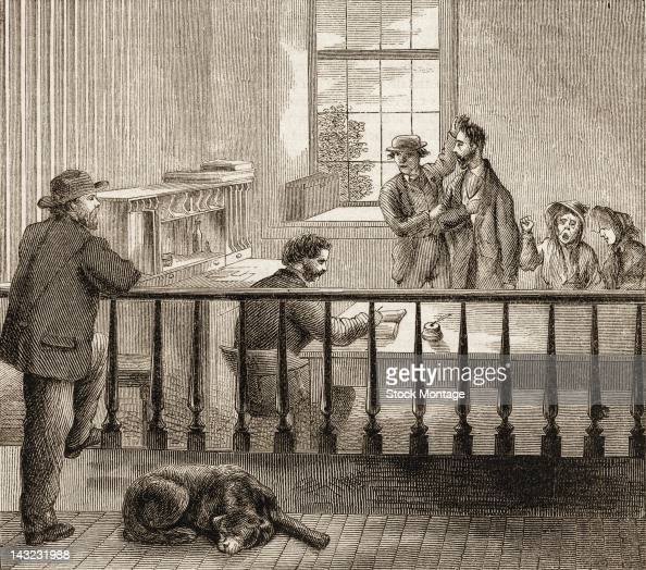 Wood engraving shows the arrival and examination of new patients at the New York City Lunatic Asylum Hospital Blackwell's Island New York New York...