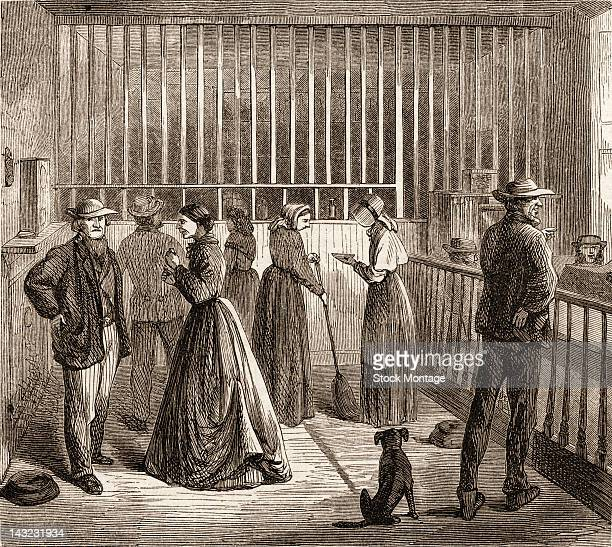 Wood engraving shows the office and drug dispensing area at the New York City Lunatic Asylum Hospital Blackwell's Island New York New York circa 1865...