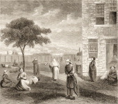 Wood engraving shows the outdoor yard at the New York City Lunatic Asylum Hospital Blackwell's Island New York New York circa 1865 The asylum opened...