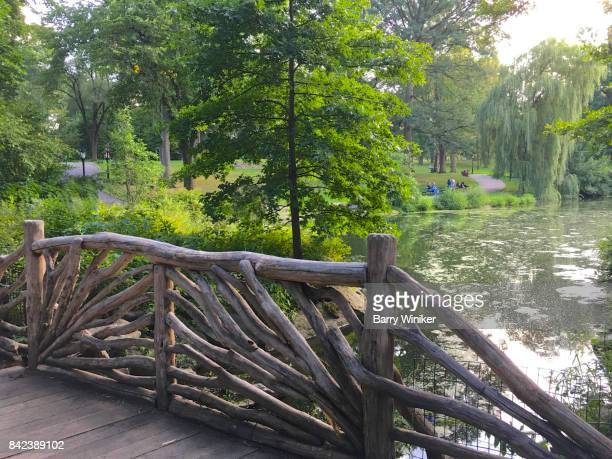 Wood fence at footbridge in Central Park, NYC