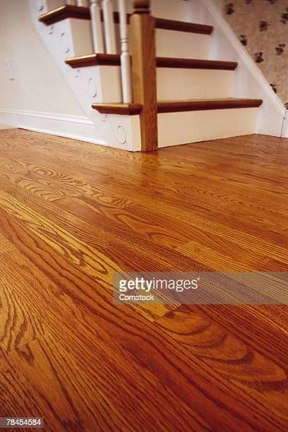 Wood floor and staircase in home
