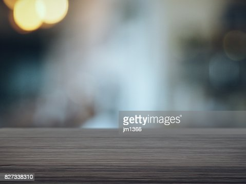 Wood floor with blurred cafe background : Stock Photo