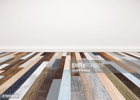 Wood floor with white wall, interior empty space for backgrounds : Stock Photo